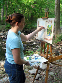 Kate Kern Mundie painting in Wissahickon Park