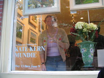 Kate Kern Mundie through the gallery window